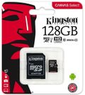Card de memorie Kingston Canvas Select microSDXC, 128 GB, 80 MB/s Citire, 10 MB/s Scriere, Clasa 10 UHS-I + Adaptor SD