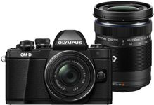 Aparat Foto Mirrorless Olympus E-M10 Mark II + Kit Double Zoom Obiectiv EZ-M1442 IIR + Obiectiv EZ-M4015 R, 16.1 MP, Filmare Full HD (Negru)