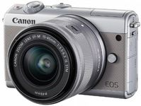 Aparat Foto Mirrorless Canon EOS M100 + Obiectiv EF-M 15-45mm, F/3.5-6.3 IS STM, 24.2MP, Full HD + Irista 50GB (Gri)