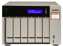 NAS Qnap TVS-673e-4G, 6 Bay-uri, Gigabit, Procesor AMD R-Series RX-421BD quad-core 2.1 GHz processor (Turbo Core to 3.4 GHz), 4 GB DDR4 (Auriu)