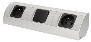 Priza schuko Orno OR-AE-1304(GS), dubla, 230V, 3680W, cablu 0.5 m (Argintiu)